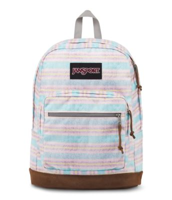 The JanSport Right Pack Expressions features a variety of prints, including animal prints, and colors on unique fabrications. This backpack includes signature suede leather bottom, 15 inch laptop sleeve and front pocket with organizer.